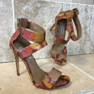 Steve Madden Strappy Ankle Strap Snakeskin Heels